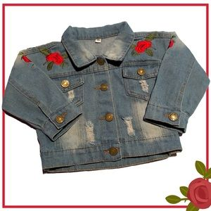 Distressed Jean Jacket w/ Embroidered Roses